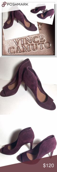 Vince Camuto Karolynn Suede Pumps These are in fabulous condition! Shows a very small amount of wear on the soles. Leather upper/lining and man made soles. Beautiful dark plum color suede. Heels show no signs of wear. Vince Camuto Shoes Heels