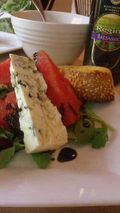 A watermelon salad with a balsamic reduction and paired with a slice of French blue cheese perfect sweet savory option to enjoy this summer. Healthy Food Options, Healthy Recipes, Healthy Eats, Easy Recipes, Cooking Challenge, Watermelon Salad, Balsamic Reduction, Rabbit Food, Salad Dressing Recipes