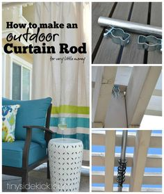 I'm thinking about doing this downstairs to divide the pool table and tv.How to Make an Outdoor Curtain Rod = This could be used between rafters in at unfinished basement, as well as on the screened porch Backyard Projects, Outdoor Projects, Home Projects, Backyard Games, Outdoor Rooms, Outdoor Living, Outdoor Decor, Outdoor Curtains For Patio, Pergola Curtains