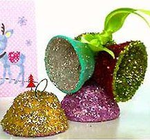 "Glitterbells | cut ""bell"" from egg carton, paint inside and out with acrylic paint, coat with glue and add glitter."