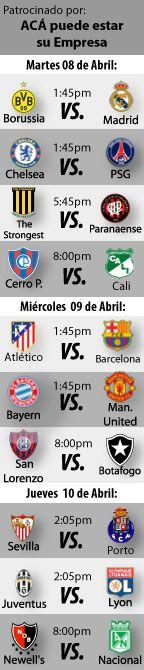 Fútbol recomendado para esta semana: 08 al 10 de Abril, los encuentros de vuelta de los cuartos de final de la Champions League y la UEFA League, y partidos de el cierre de la fase de grupos de la Copa Libertadores  http://blogueabanana.com/deportes/futbol-08-al-10-abril.html
