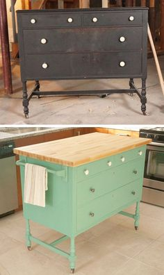 Painted restore dresser/island before and after