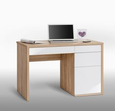 Jess White Gloss And Sanoma Oak Computer Desk With Drawers.- Jess White Gloss And Sanoma Oak Computer Desk With Drawers. Furnitureinfashio… Jess White Gloss And Sanoma Oak Computer Desk With Drawers. Oak Computer Desk, Computer Desk Design, Small Computer, Office Table, Home Office Desks, Study Table Designs, Storage Chair, Office Furniture Design, Desk With Drawers
