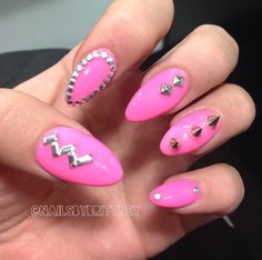 Neon pink almond nails with studs & spikes Cute Nails, Pretty Nails, My Nails, Studs And Spikes, Almond Nails, Stiletto Nails, New Hair, Nail Designs, Nail Art