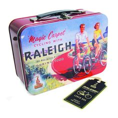 MAGIC CARPET CYCLING WITH RALEIGH TIN TOTE LUNCH BOX STEEL RETRO VINTAGE METAL