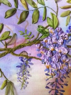 wisteria technique...Ribbon Work & Embroidery by westies.hamerhillsfarm