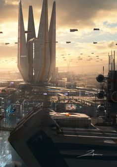 Round City Rooftop - by Tu Bui Cyberpunk City, Futuristic City, Futuristic Architecture, Fantasy City, Sci Fi Fantasy, Fantasy World, Sci Fi Stadt, Rpg Star Wars, Science Fiction Kunst