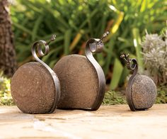 River rock snail garden sculpture