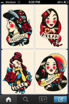 Traditional Disney princesses tattoos