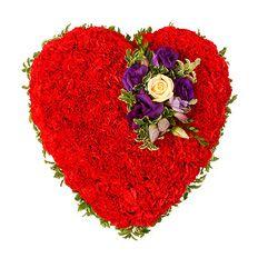 Carnation Heart Funeral Tribute Arrangement