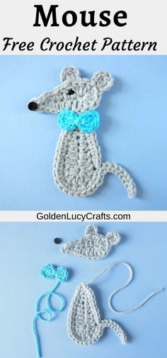 Learn how to crochet cute Mouse applique with this free pattern! Crochet Mouse, Cute Crochet, Crochet Yarn, Easy Crochet, Diy Crochet Projects, Crochet Crafts, Crochet Ideas, Diy Projects, Pullover Shirt