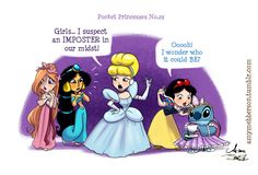 Pocket Princesses 29: The Imposter  Special guest courtesy of my partner in crimes-against-Artistry, James Silvani  You want cute? Go check out his Stitch pieces. You. Will. DIE.  Pocket Princesses Facebook page  Disney Fashionista Facebook page  Please...