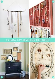 2. DIY Jewelry Organizer from a Thrifted Typeset Tray use angled tacks or corks on back board to hang items/pins/earrings add a few small boxes on shelves for earring backs