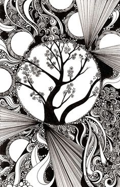 """""""59: Black and white Abstract with Trees"""" by djsmith70:"""