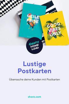 Kostenloser Download: Lustige Postkarten für deine Kunden.