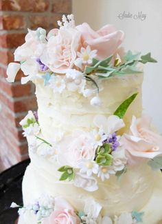 countryside flowers wedding cake  by Sharon Sadie May Cakes  - http://cakesdecor.com/cakes/250869-countryside-flowers-wedding-cake
