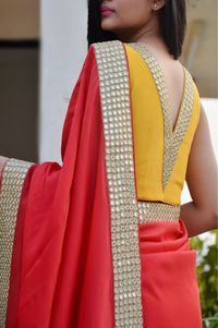 Buy this Red Crepe Handwork Designer Saree by Colorauction from www.colorauction.com #handwork #saree #indianwear #red #colorauction