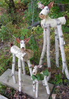 reindeer birch log deer Garden holiday decor by HeavenlyHolidays