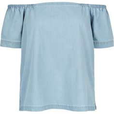 Monsoon Heidi Chambray Off The Shoulder Top ($68) ❤ liked on Polyvore featuring tops, blouses, off the shoulder blouse, blue top, off shoulder tops, chambray top and blue blouse