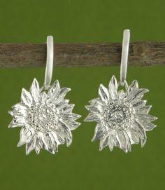 """""""Sunflower Earrings"""" handmade in sterling silver by Garden of Silver."""