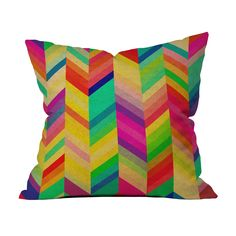 Red, orange, yellow, and more zigzag across this glowing throw pillow, making it whimsical and versatile. Matching it to your décor with it is a cinch: pluck out one hue and indulge. Choose either pill...  Find the Rainbow Chevron Pillow, as seen in the Master of Bauhaus Collection at http://dotandbo.com/collections/master-of-bauhaus?utm_source=pinterest&utm_medium=organic&db_sku=DNY0167