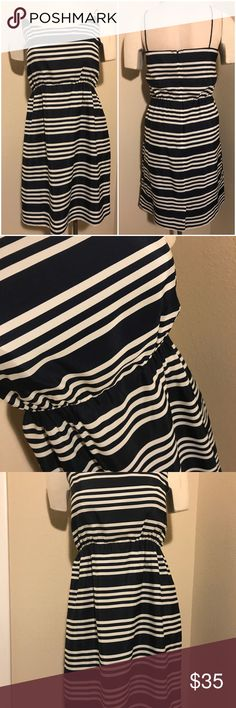 NWOT J Crew Navy Blue & White Dress Never work flawless. Navy blue and white spaghetti strap dress. Zipper in the back.  Stunning J Crew FACTORY Dress J. Crew Dresses Midi
