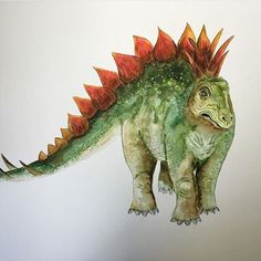 Dinosaur watercolor illustration by brettblumenthal on Instagram
