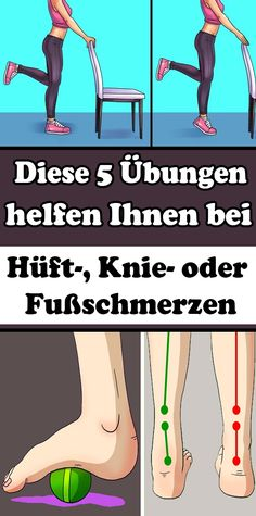 These 5 exercises help you with hip, knee or foot pain - Gesundheit und fitness - Health Fitness Workouts, Fitness Motivation, Fitness Diet, Yoga Fitness, At Home Workouts, Health Fitness, Physical Fitness, Health Goals, Health And Wellness
