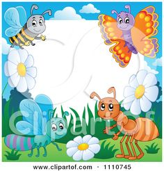 Frame with bugs theme 3 - vector illustration. Borders For Paper, Borders And Frames, Clipart, Photo Frame Design, Writing Paper, Flower Frame, Cartoon Drawings, Paper Art, Diy And Crafts