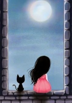 moon, a girl and her kitty