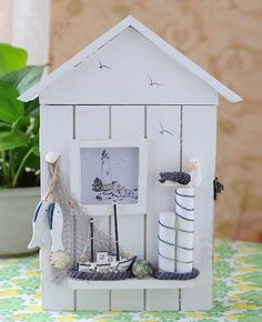 Decorative Vintage Wood Key Shadow Box Ocean Sea Ship Boat Light House FishNet L