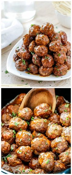 Slow Cooker Honey Buffalo Meatballs from Carlsbad Cravings sound like a TOUCHDOWN! Jen says when she took these to a party, everyone begged for the recipe! [featured on SlowCookerFromScr...]
