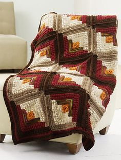 Log Cabin Comfort Throw. Free pattern by Red Heart.  LOVE THE COLORS