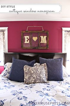 An antique window re-purposed into personalized wall art. - love the monogram letters too. Cute for a master bedroom :) Old Window Projects, Home Projects, My New Room, My Room, Bedroom Decor, Wall Decor, Bedroom Ideas, Master Bedroom, Antique Windows