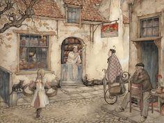 Vanaf de hoek van de straat slaat een man de voorbijgangers gade: een oude vrouw die vanuit de steeg komt aanschuifelen, op weg naar de bakkerij, en een meisje dat er door haar moeder voor een boodschap op uit is gestuurd . Ze zal terugkeren met haar mandjes vol een een snoepje in haar wangen.