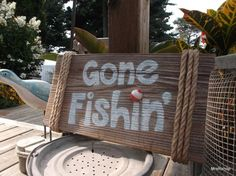 Gone Fishing sign reclaimed barn board wood nautical by MrsRshop