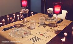 Ideas San Valentín - decoración mesa para una cena especial para 2