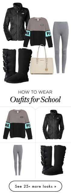 """""""High school"""" by kylagail on Polyvore featuring UGG Australia, The North Face, MICHAEL Michael Kors, women's clothing, women's fashion, women, female, woman, misses and juniors"""