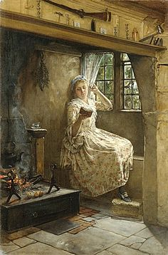 """""""A Cozy Corner"""" (1884) by Francis Davis Millet (1846-1912), an American painter and writer who died in the sinking of the RMS Titanic in 1912. He was close friends with Augustus Saint-Gaudens, Mark Twain and John Singer Sargent, who often used Millet's daughter Kate as a model, as well as the esteemed Huxley family. [Metropolitan Museum of Art by RasMarley, via Flickr]"""