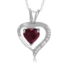 $14.99 - 1.20 Carat Ruby Diamond Accent Sterling Silver Heart Pendant