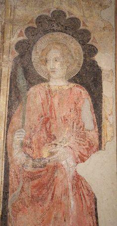 Pietro e Antonio da Miniato - Madonna col bambino tra i santi Niccolò e Lorenzo, dettaglio - 1411- Museo Civico, Prato