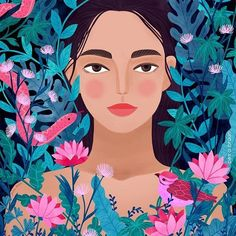 Jungle Girl Art Print by Petra Braun Illustration - X-Small People Illustration, Portrait Illustration, Digital Illustration, Graphic Illustration, Arte Pop, Grafik Design, Portrait Art, Art Inspo, Art Girl