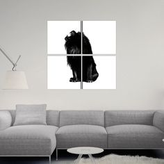 KING PUSH - Canvas Set by Alex Cherry - $299 for a 50x50 4 panel canvas. http://www.eyesonwalls.com/products/king-push-canvas-sets #lion #alexcherry #roar #animal #art #b&w