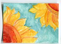 ACEO Sunflowers original watercolor Painting, aqua , Small Flower Artwork, Art Card