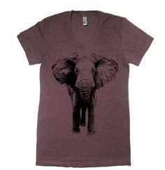 Womens Elephant T Shirt - American Apparel Tshirt - S M L XL (20 Color Options) by lastearth on Etsy