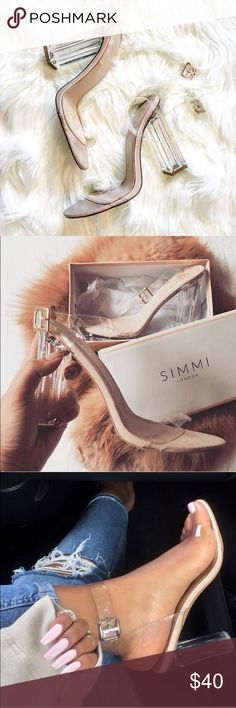 Simmi Nude Perspex Heels Sunni perspex heels in patent nude. Size is 9 and run a bit small, more true to an 8.5. Only worn twice. Simmi Shoes Sandals
