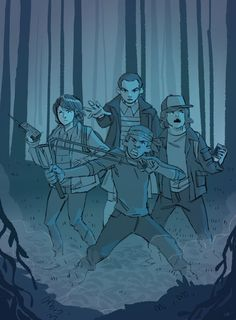 Stranger Things - by Astrobust. Mike Wheeler, Eleven, Lucas Sinclair, and Dustin Henderson.