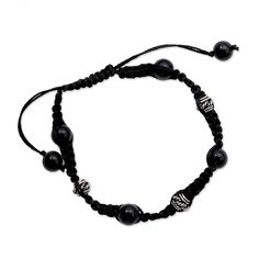 NOVICA Adjustable Length Macrame Shamballa Bracelet with Sterling Silver and Onyx 'Prayer for Peace' * Check this awesome jewelry pin  : Jewelry