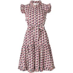 La Doublej ruffle print dress ($504) ❤ liked on Polyvore featuring dresses, blue, white dress, white cotton dress, cotton dress, blue short sleeve dress and short-sleeve dresses