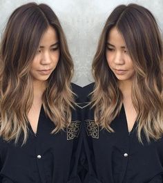 21 Fantastic Easy Shoulder-Length Hairstyles: #5. Brunette to blonde medium length balayage hairstyle; #balayage